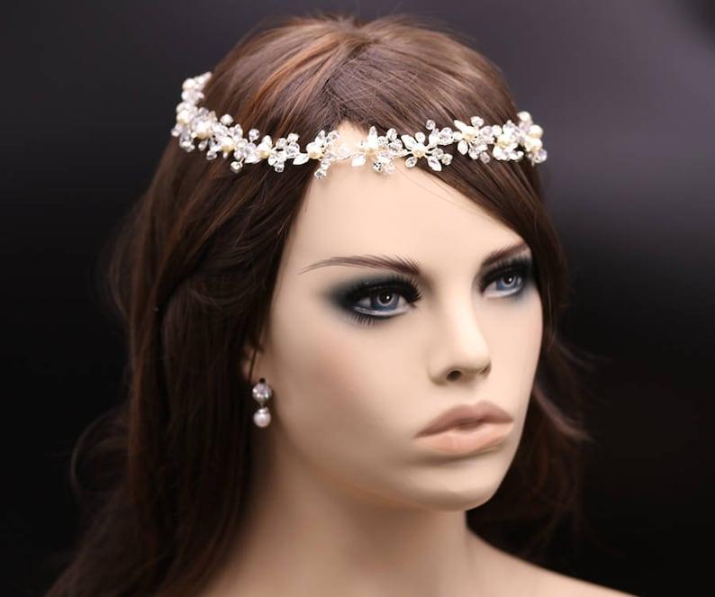 Crystal Halo Forehead Hair Vine Bridal Halo Headband wedding headpiece Maddison Halo Pearl Headpiece Crystal ribbon headband