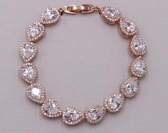 Rose Gold Bridal bracelet, wedding bracelet, cz bracelet, cubic zirconia bracelet, bridal jewelry, Marley Pear Rose Gold Bracelet