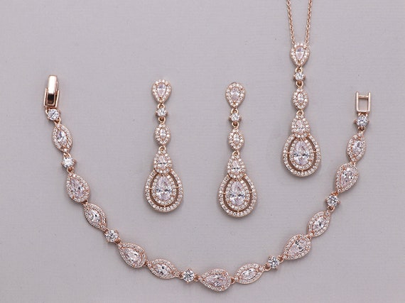 Long Rose Gold Jewelry Set Wedding Jewelry Set Cubic Etsy
