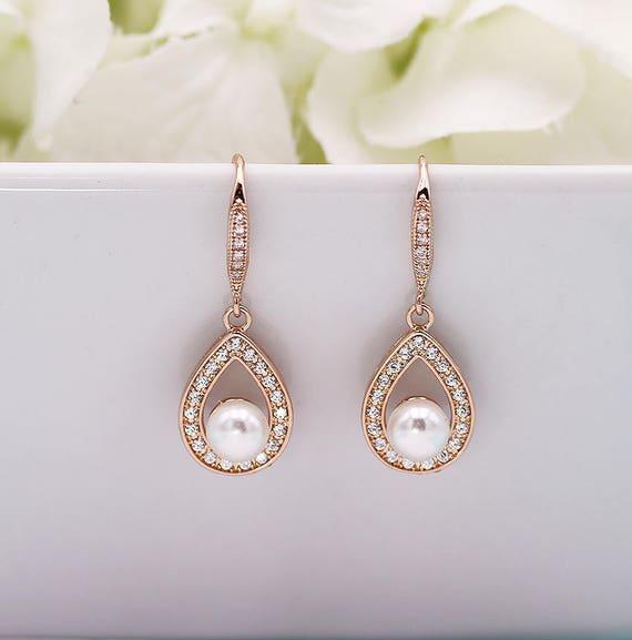 Pearl Cz Earrings Pearl Bridal Earrings Cubic Zirconia Etsy