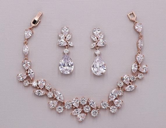 Rose Gold Bridal bracelet set, wedding earrings bracelet set, cubic zirconia bracelet, bridal jewelry, Natalia Rose Gold Bracelet Set