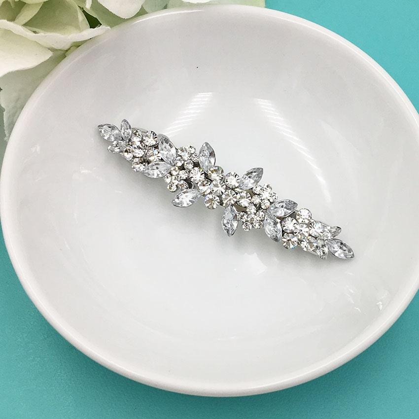 Crystal Rhinestone Barrette Bridal Comb Crystal Wedding Etsy