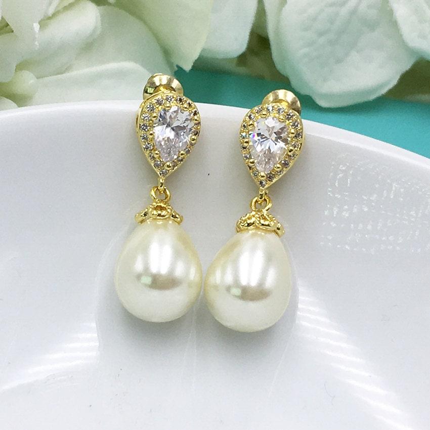 fb9c27cabd7b7 Gold Pearl Earrings, CZ Pearl cubic zirconia earrings, wedding ...