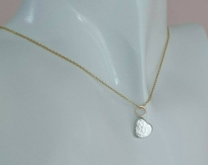 Valentine gift for her, hammered heart pendant, solid silver tiny heart with 9ct gold detail