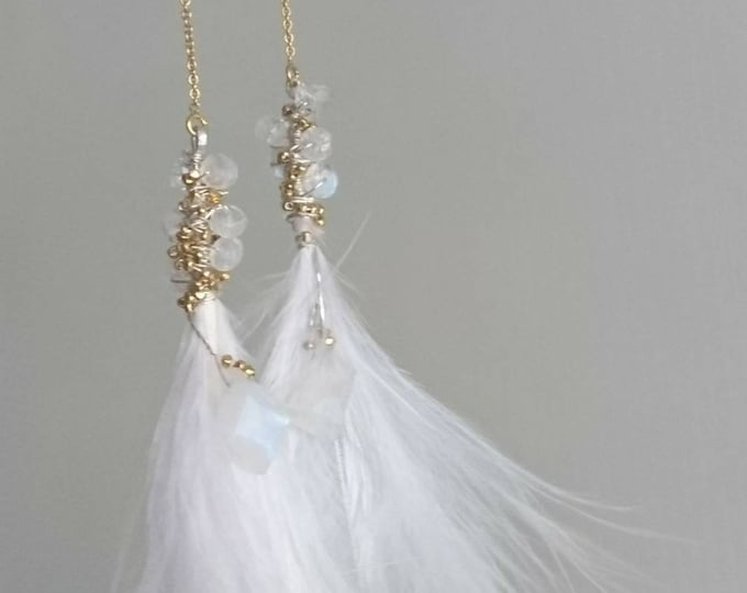 Party earrings, Bridal earrings, romantic feather and moonstone threader earrings, glamorous jewellery