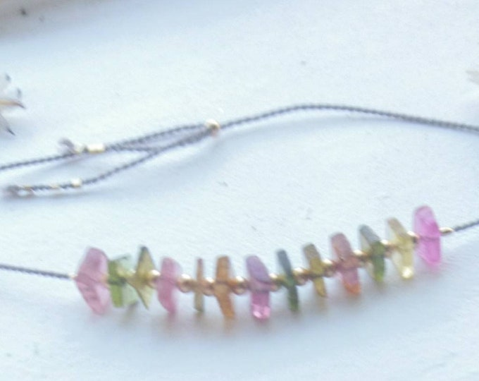 Watermelon tourmaline  bracelet, silk cord jewelry with multi coloured gemstones, bestie gift