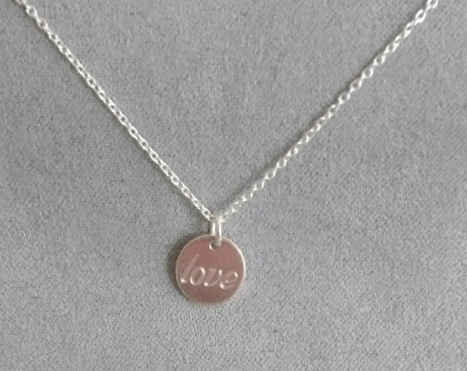 Sterling silver necklace with love tag, engraved charm jewellery, gift for her
