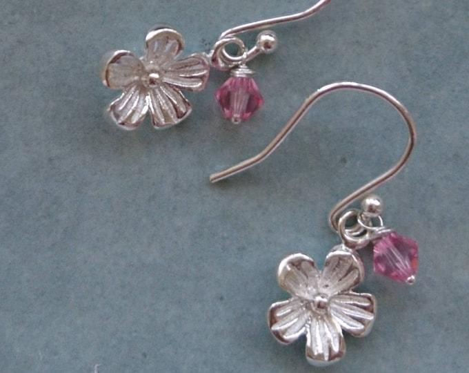Silver daisy earrings, Swarovski crystal  flower girl jewelery,  thank you for being my bridesmaid, summer wedding, Swarovski earrings