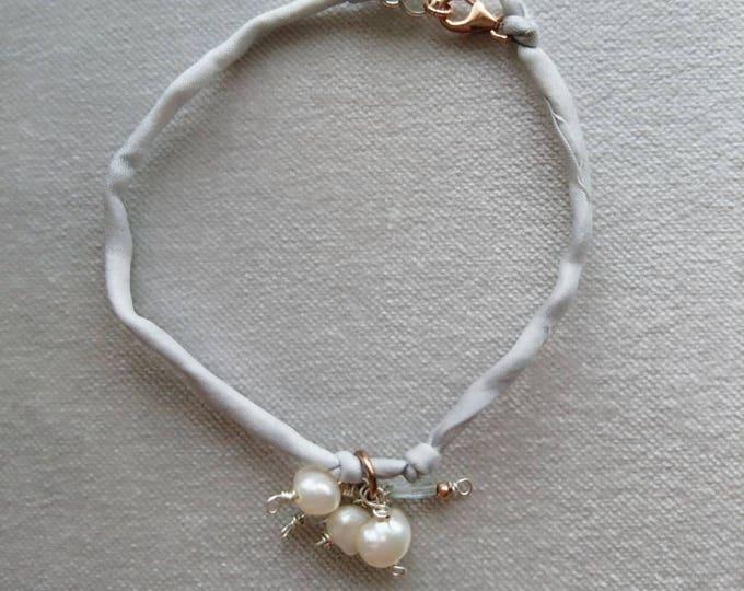 Pearl bracelet, silk bracelet, pearl and aquamarine, rose gold beads, gift for her, birthday present,