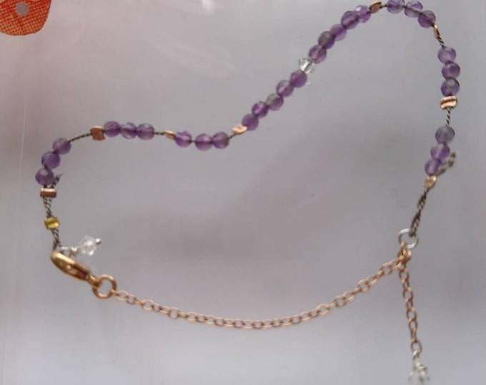 Amethyst bracelet, silk cord jewellery, rose gold silk bracelet, amethyst bead bracelet, amethyst and gold, February birthstone, dainty gold
