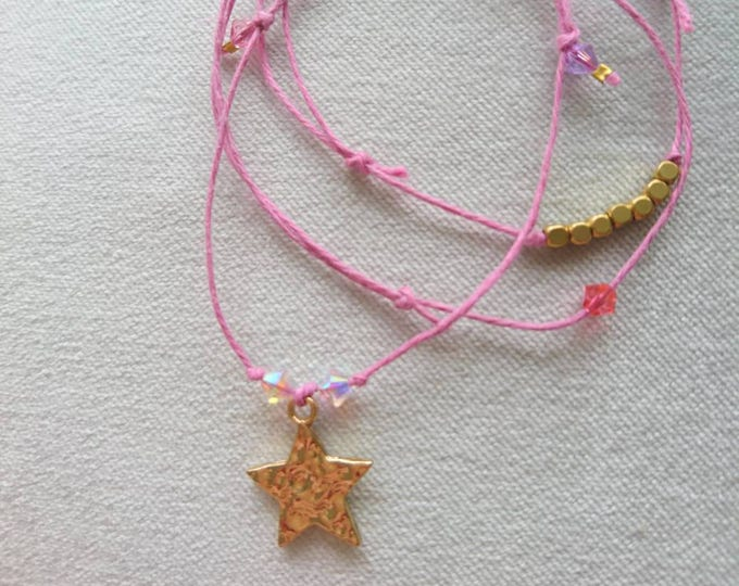 Girls friendship bracelet, star jewellery,sparkly bracelets,holiday, summer jewellery, gift for her, Swarovski genuine, layering bracelets