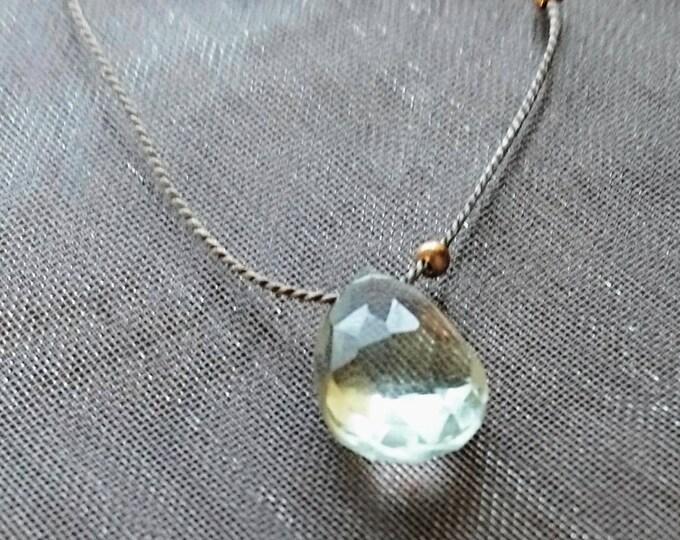 Silk cord floating gem necklace, green amethyst jewellery, summer days necklace, gift for her, girlfriend best friend niece bridesmaid