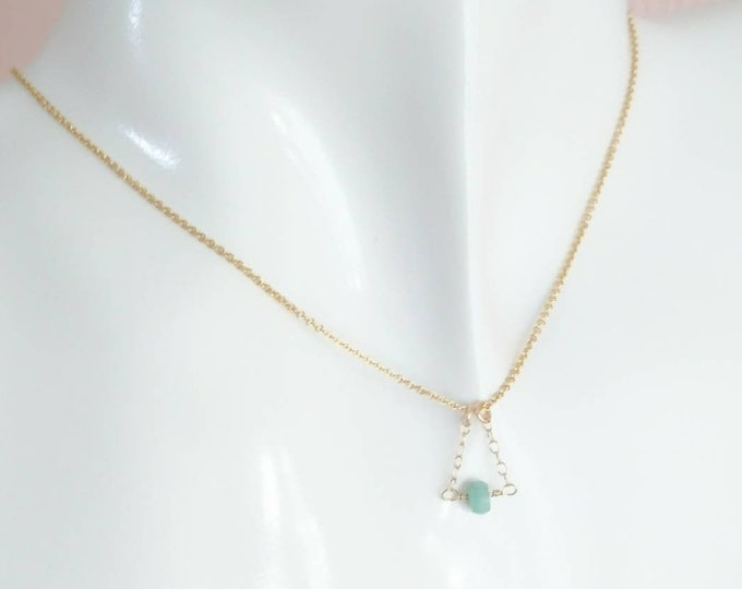 Tiny emerald pendant, May birthstone