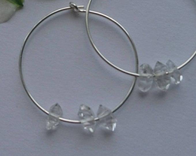 Hoop earrings with herkimer diamonds, skinny hoops, minimal jewelry