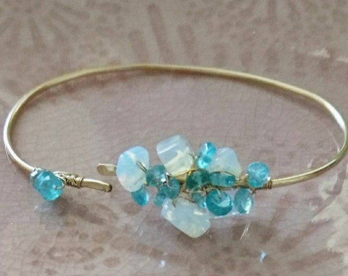 Gemstone bangle in 14k gold fill, apatite and opal quartz wire wrapped jewellery, gift for her birthday, anniversary present, boho style