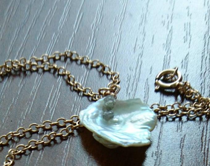Pearl rose gold necklace with raw diamonds, bride necklace, June birthday,three little words,necklace bride, bridesmaid, boho, beach bride