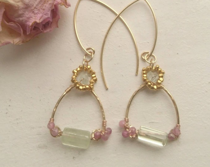 One of a kind earrings in aquamarine and pink tourmaline