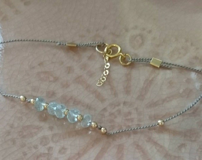 Aquamarine  bracelet with gold beads on silk cord, March birthday gift for her, blue gem layering bracelet