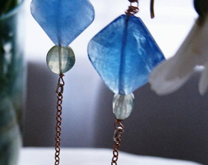 Gold and blue drop earrings, boho jewellery, rose gold dangle earrings, mixed metal jewelry, best friend birthday gift, spirit of summer