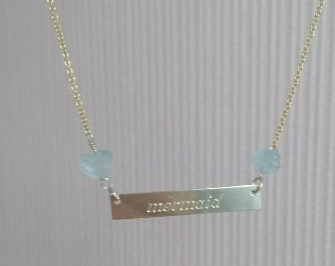 Mermaid necklace with raw  aquamarine, March birthstone gift for her, summer jewellery