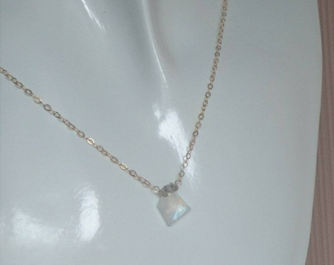 Moonstone and raw diamond pendant necklace, blue flash moonstone with raw grey/white diamonds