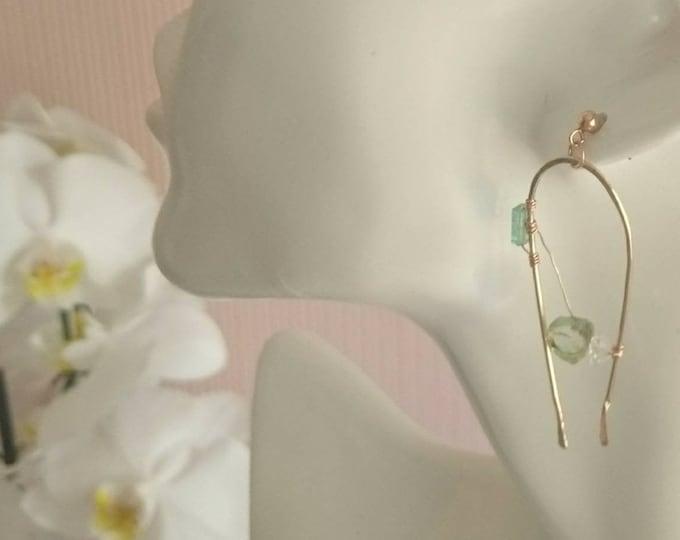 Watermelon tourmaline earrings, gemstone jewellery, drop earrings, statement jewelry, one of a kind