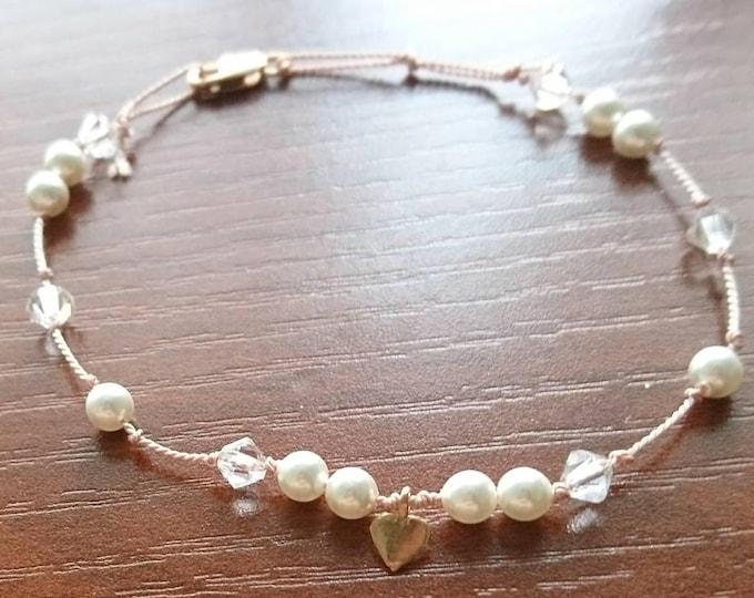 Silk cord bracelet, crystal and pearl bracelet dainty, bridesmaid bracelet, bracelet flower girl, bridesmaid gift, gift for her,