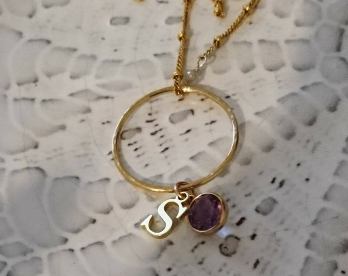 Initial necklace, gift for her, birthstone necklace with charms and raw diamonds, personalised amethyst necklace, chic satellite necklace