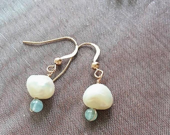 Pearl and aquamarine drop earrings, June birthday, freshwater pearl jewellery, bridal earrings, something blue, rose gold drop earrings,