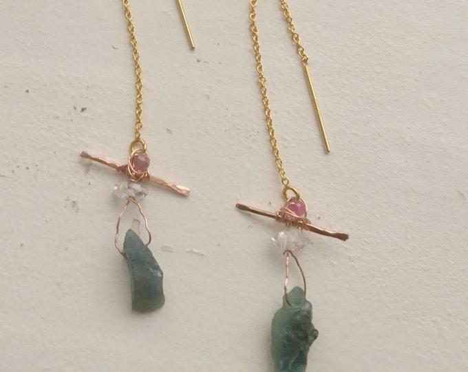 Santa Maria aquamarine drop earrings with herkimer diamonds and pink tourmaline