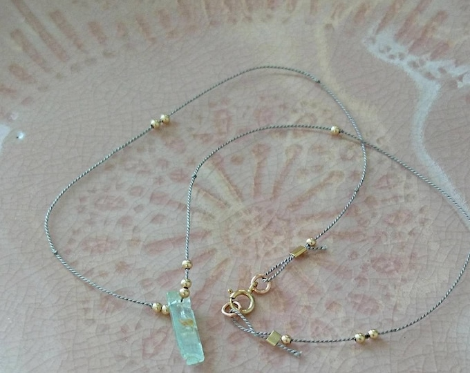 Raw aquamarine necklace on silk cord, dainty jewelry, minimal crystal, March birthstone gift for her birthday, best friend gift, summer days