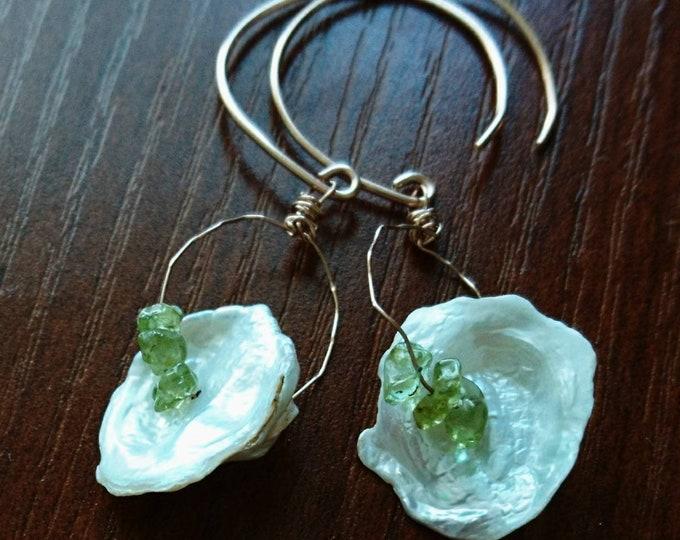 Pearl and peridot drop earrings, boho earrings, June birthstone gift for her, August birthstone, best friend birthday gift, summer