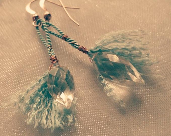 crystal drop earrings, one of a kind drop earrings, blue jewellery, boho style earrings, summer blues, birthday gift for best friend, niece