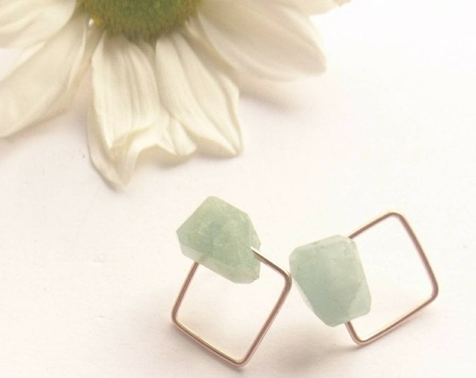 Geometric aquamarine stud earrings, art deco style push back earrings with aquamarine,