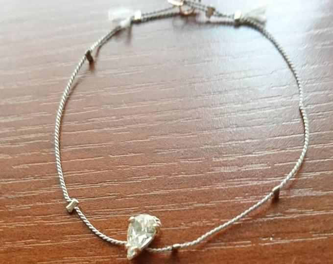 Silk cord and Swarovski bracelet, silk cord jewellery, rose gold beads, sparkly bracelet, dainty bracelet, elegant bracelet, gift for her,