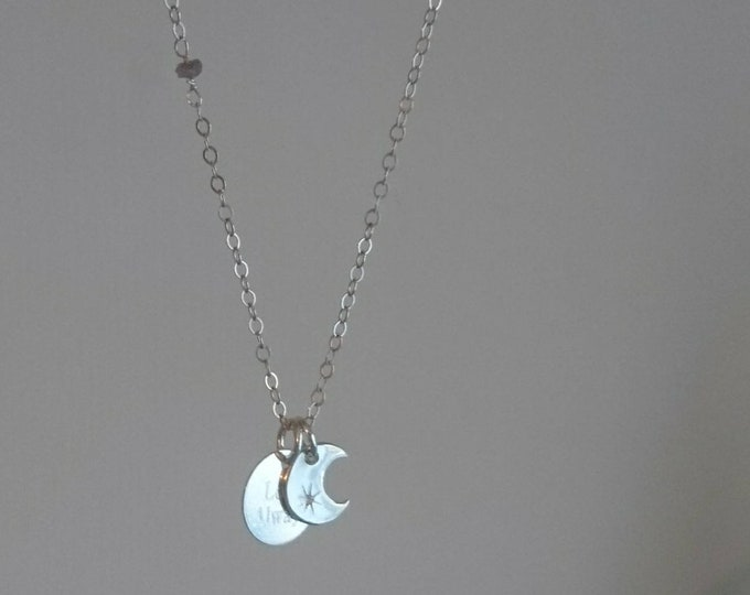 Moon and love always  tag charm necklace in sterling silver with tiny raw diamonds