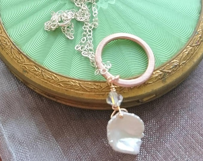 Pearl necklace, pearl and diamond necklace for bride, simple elegance, dainty necklace, summer jewellery
