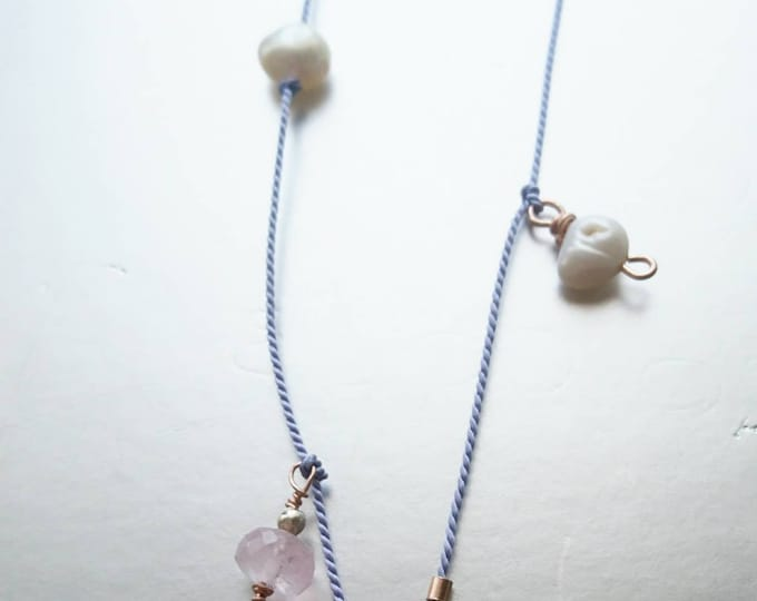 Silk charm necklace with labradorite, morganite freshwater pearl charms, Pantone colour of the year, gift for sister friend, on trend