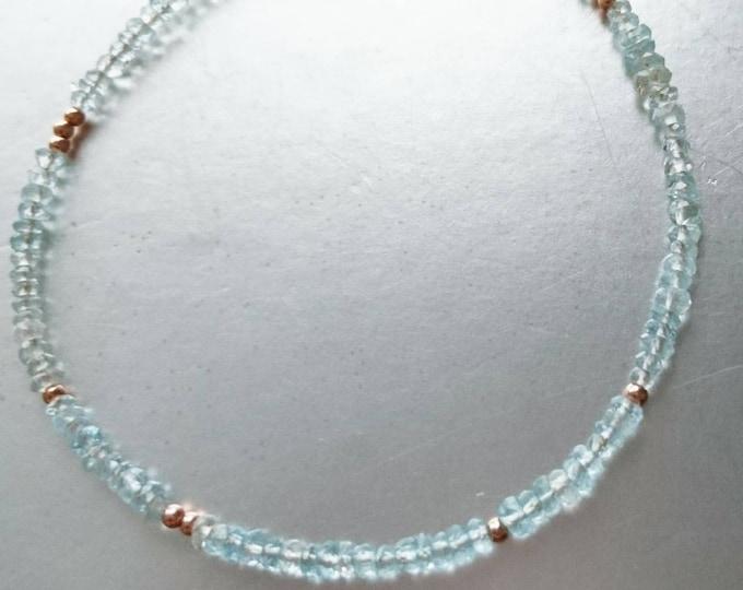 Aquamarine and heart charm  stacking bracelet, March birthstone, something blue