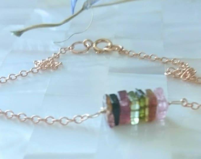 Watermelon tourmaline bracelet in 14k rose gold fill,14k gold fill, sterling silver gemstone jewelry, dainty gem jewelry, stacking bracelet