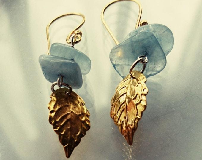Gold leaf earrings, blue earrings, boho jewellery, gold drop earrings,  summer jewellery