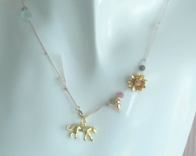 Girls charm necklace with leopard charm and multi tourmaline on silk cord