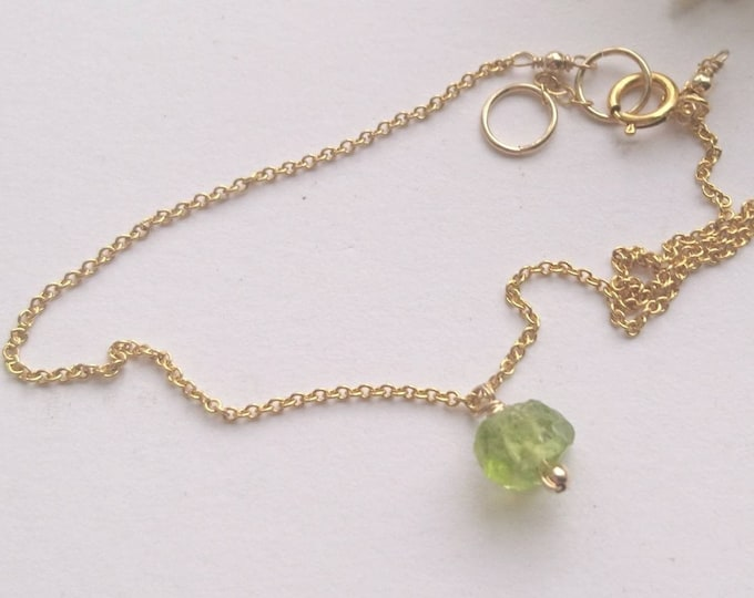 Gold anklet, Peridot anklet, August birthstone gift for her, summer jewellery,