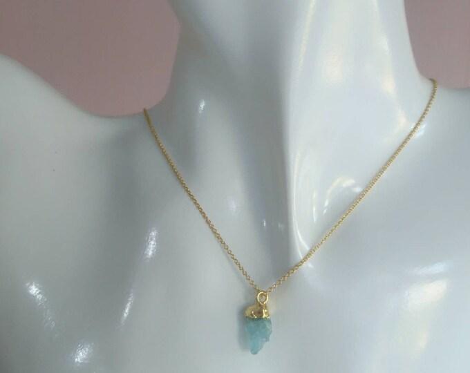Raw aquamarine necklace, personalised