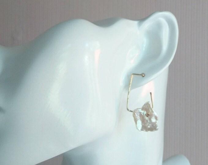 Modern pearl earrings, statement studs, geometric earrings, freshwater pearl jewellery, June birthday gift for her, anniversary gift