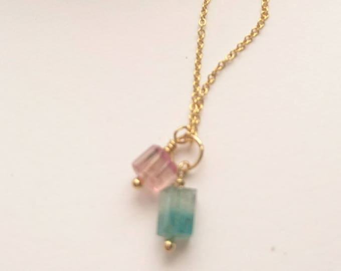 Multi coloured tourmaline necklace, gemstone pendant, pink and green crystal charm necklace