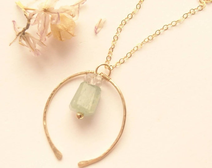 Aquamarine and herkimer diamond pendant in 14k gold fill, hammered horseshoe necklace with gemstones, artisan gift