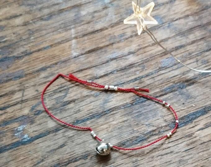 Christmas bracelet, jingle bell friendship bracelet, stocking filler, gift for her, niece, best friend