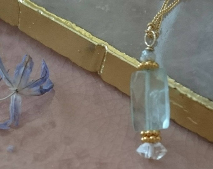 Aquamarine and raw diamond pendant with vermeil accents, charm necklace, satellite chain, blue gemstone