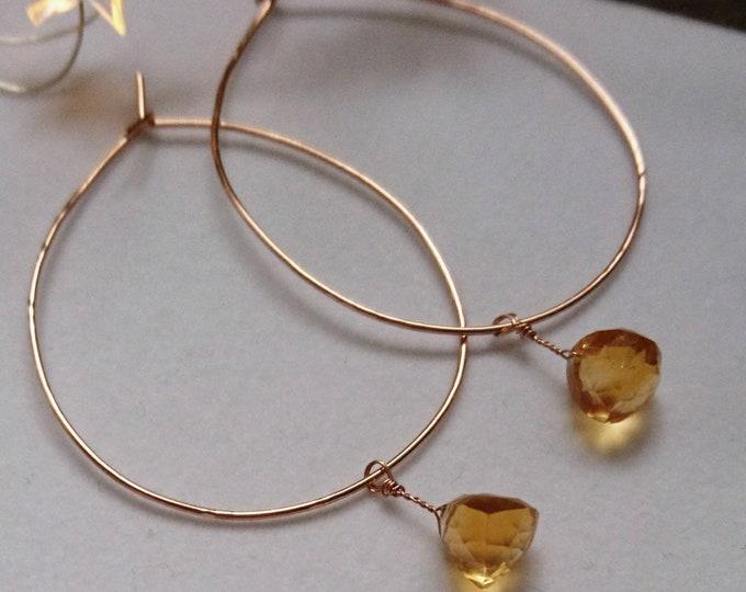 November birthday, faceted citrine teardrop hoop earrings, birthstone jewellery, yellow gemstone, luxe jewelry, fall glamour, chic earrings